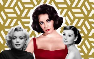 Elizabeth Taylor Grace Kelly Audrey Hepburn Marilyn Monroe, Ποια, Elizabeth Taylor Grace Kelly Audrey Hepburn Marilyn Monroe, poia
