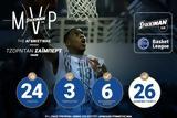 Τζόρνταν Σάϊμπερτ MVP, 8ης, STOIXIMAN GR Basket League,tzorntan saibert MVP, 8is, STOIXIMAN GR Basket League