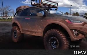 Τesla Model X, Dakar, tesla Model X, Dakar