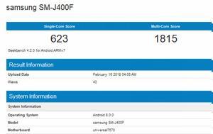 Samsung Galaxy J4, Exynos 7570, Geekbench