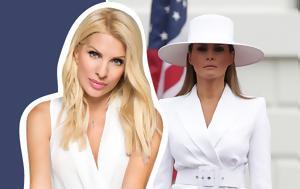 6c182dc4997 Η Ελένη Μενεγάκη επέλεξε ένα σύνολο εμπνευσμένο από τη Melania Trump - i  eleni menegaki epelexe ena synolo ebnefsmeno apo ti Melania Trump