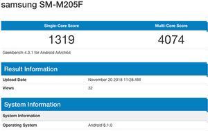 Galaxy M, Samsung, Exynos 7885, Geekbench