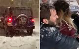 Της πέταξαν χιόνι και… πήγε να τους πατήσει,